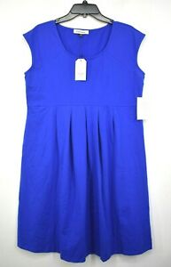 Angel Maternity Womens Blue Cotton Blend Scoop Neck Solid Cap Sleeves Dress XL $25.99