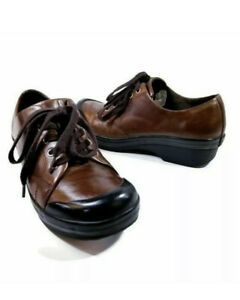 Dansko Veda Unisex Brown Leather Lace Up Oxford Nursing Clogs US Men's 9 11.5