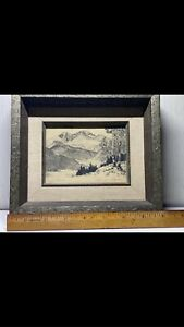 Vintage Artist LYMAN BYXBE Original Signed RARE Longs Peak Etching Art $400.00