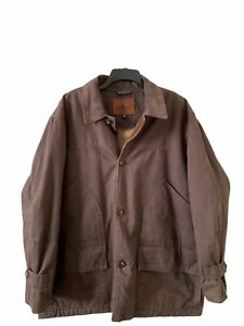 Mens Heavy Canvas Barn Coat XL Roundtree amp; Yorke Brown Jacket Lined