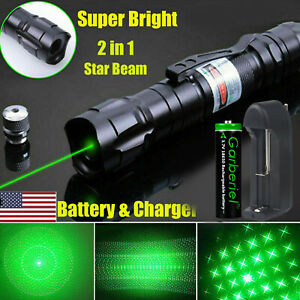 900 Miles 532nm Green Laser Pointer Star Beam Rechargeable Lazer18650 Battery $12.49