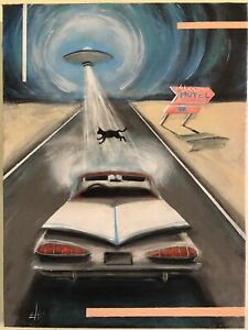 Mid Century Modern Style UFO Sci if Original Painting by Ehle $169.00
