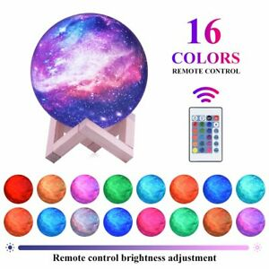 3D Galaxy Moon Lamp LED Night Light 16 COLOR USB Remote Controlled Birthday Xmas $31.99