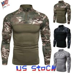 US Men Slim Combat Tactical T Shirt Military Camouflage Fitness Long Sleeve Tops
