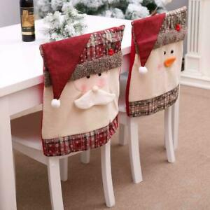 1 2Pcs Christmas Chair Back Cover Santa Claus Snowman Decorations Home Case Xmas $9.86