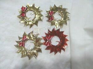 Vintage Tinsel Wreath Christmas Ornaments set of 4 wreaths