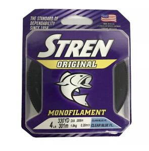 Stren Original fishing line 4 lb test 330 yards clear blue fluorescent New USA