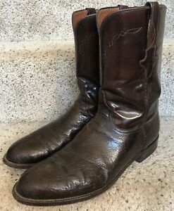 Luchesse Smoth Ostrich Exotic Handmade Boots Chocolate Brown Men's Size 10.5