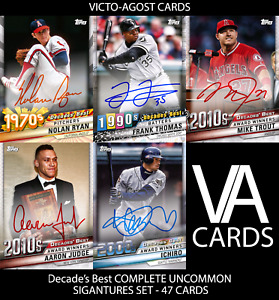 Topps Bunt Decade#x27;s Best COMPLETE UNCOMMON AUTO SET 47 CARDS DIGITAL CARDS