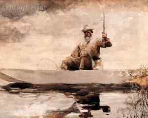 Fishing on the Adirondacks by Winslow Homer Boat Man 8x10 Print Picture 1636