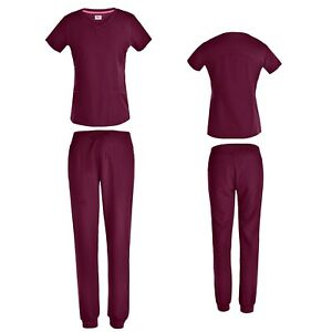 Women#x27;s 4 Way STRETCH Top with Jogger Scrub Pants 7 COLORS