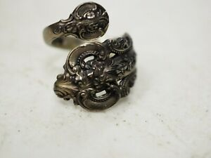 WALLACE GRANDE BAROQUE Antique Sterling Silver Spoon Ring