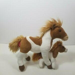 FAO Schwarz Plush Mother Horse and Foal Colt Brown White 13 $13.99