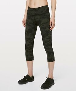 Lululemon Women's Wunder Under Low Rise Crop 21quot; ICMG Incognito Camo Multi Green $79.95