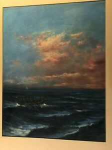 Rare Original Signed Antique Painting Boat In The Ocean At Sunrise $246.99