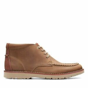 Clarks Mens Vargo Apron Brown Leather Ankle Boots $39.99