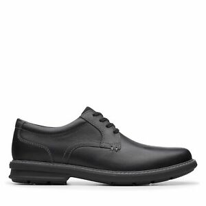 Clarks Mens Rendell Plain Black Leather Oxford Shoes $39.99