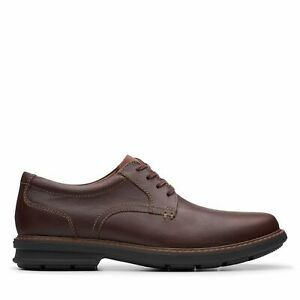Clarks Mens Rendell Plain Brown Leather Oxford Shoes $39.99