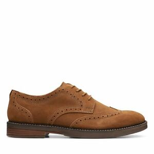 Clarks Mens Paulson Wing Brown Suede Wingtip Dress Shoes $44.99