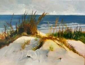 Impressionist seascape oil painting dunes ocean by Michele Cole $135.00
