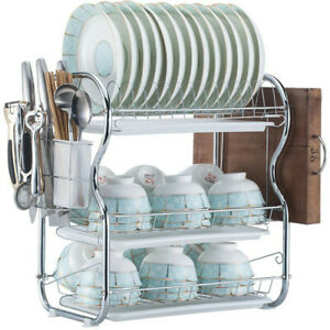 Dish Drainer Drying Rack 2 Or3 Tier Stainless Steel Kitchen Cutlery Holder Shelf $22.99