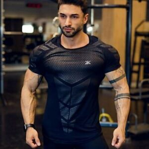 T shirt Men Compression Quick Dry Shirts Sports Running Gym Fitness Workout Tops $27.94