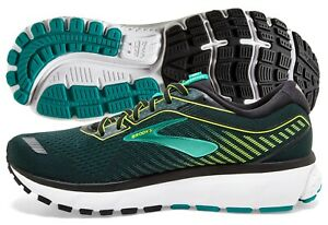 Brooks Ghost 12 Mens Shoe Black Lime Blue Grass multiple sizes New In Box