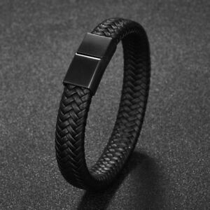 Men Jewelry Black Braided Leather Bracelet Stainless Steel Clasp Bangle Hip hop $7.99