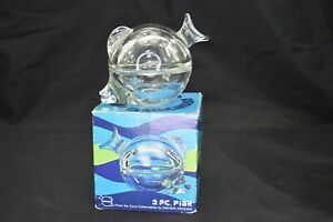 Vintage Anchor Hocking USA Clear Fish Shaped Art Glass Trinket Dish With Box $27.99