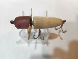 EARLY Unknown Rotary Head Antique Wood Lure Red Head $32.99
