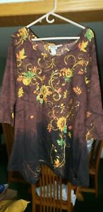Womens Sunflower Embellished 3 4 Sleeve Top Size XXL $17.99