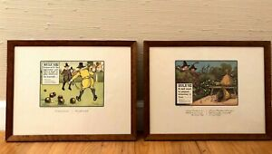 2 Antique Lithographs Perrier Mineral Water By Chas Crombie Framed EUC 1966 $62.00