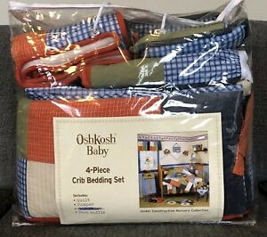 Oshkosh Baby Under Construction 8 Piece Crib Bedding Set Blue Orange Boys $49.99