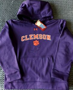 BOYS Clemson Tigers Purple Under Armour Campus Pullover Hoodie Size Large 14 16 $19.99