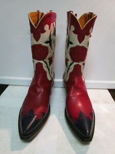 Rocketbuster Cow Girl Handmade Floral Red Boots Size 7 NEW