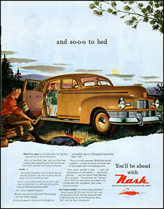 1947 Father Son camping in Car Nash automobile sunset vintage art print ad L69