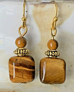 Beautiful Etched Gold Earrings with Tiger Eye Bead Earrings $6.99