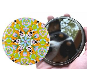 Corgi Dog Retro Kaleidoscope Pocket Mirror Dog Purse Accessories and Gifts