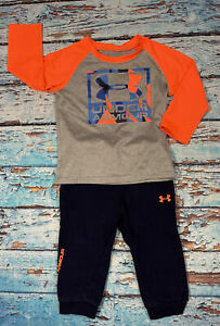 Baby UNDER ARMOUR Outfit Size 18 Months Blue Gray And Orange Long Sleeve $23.99