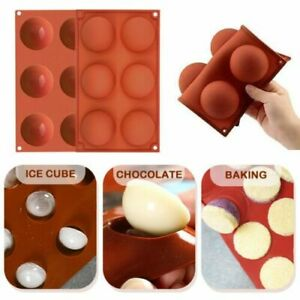 2 3 4 6Pcs 3D 6 Holes Half Ball Silicone Chocolate Mold Sphere Cake Baking Mold $7.59