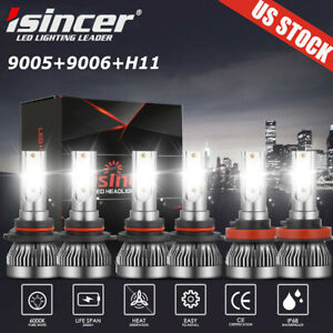 9005 9006 H11 LED Combo Headlight Fog Light Kit High Low Beam Bulb White 6000K $18.99