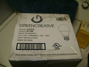 Green Creative A 19 quot;Dimmablequot; 9 watt LED lamps 6 $18.50