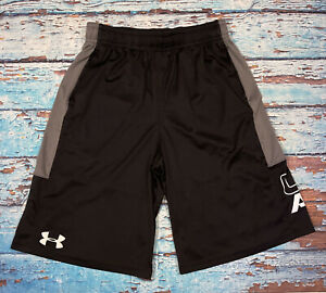 Boys UNDER ARMOUR Shorts YLG Loose With Pockets Black And White $17.99