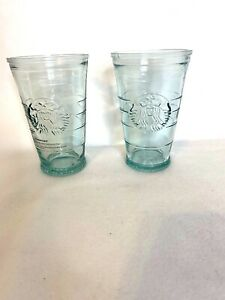 Lot of 2 Starbucks Siren Mermaid Recycled Glass Cold Cup Tumbler 16 oz Spain C30