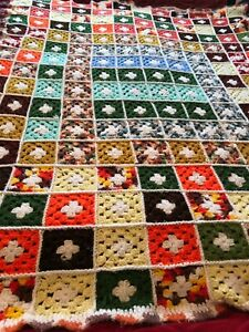 Mixed color afghan hand made vintage $8.70