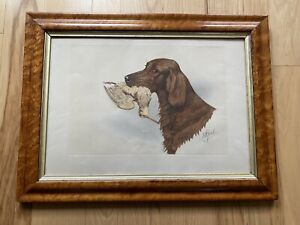 Boris Riab Russian French Lithograph Of Setter In A BirdsEye Maple Frame $399.00