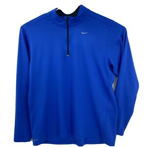 Nike Running Dri Fit Royal Blue 1 4 Zip Pullover Top Shirt XXL 2XL Mens $24.97