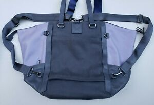 Betabrand Travel Tote Bag Gray Purple Backpack Leather amp; Canvas GREAT CONDITION $69.99
