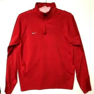 Mens Nike Fit Dry LONG SLEEVE Shirt 1 4 ZIP Pullover Red Fit Dry 1 4 Zip $18.97