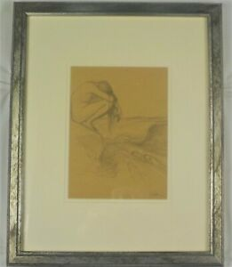 Antique Original Pencil Drawing Nude Girl w 3 Seals by Walter Griffin Listed $800.00